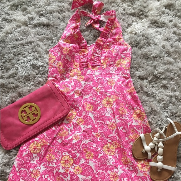 LILLY PULITZER Lavin Halter Dress Pink Chum Bucket